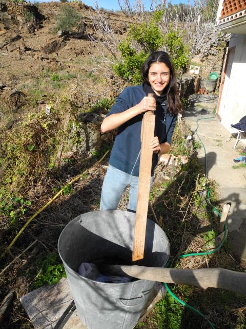 Ja, es macht Spaß! Die spanische WWOOFerin Núria beim Wäschewaschen
