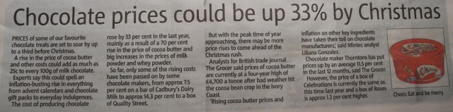 Chocolate prices could be up 33% by Christmas